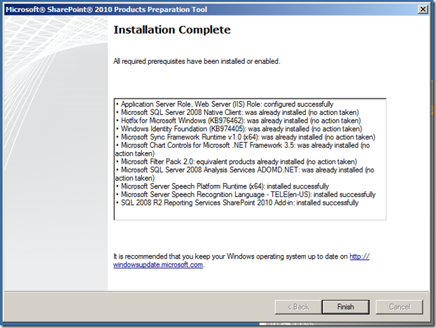 How To: Installation of SharePoint 2010 in a Small Farm Topology (6/6)